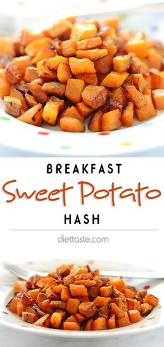 Sweet Potato Hash - slightly crispy and caramelized; great for breakfast or as a side-dish - diettaste.com