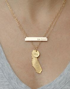 Ensemble de collier d'or de la Californie par WeLoveCalifornia