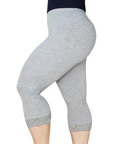 Women's Modal Plus Size Lightweight Super Soft Capri Leggings with ...