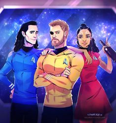 Fandom crossover! Thor as Kirk, Loki as Spock, and Valkyrie as Uhura. I love this!