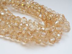 Champagne faceted glass rondelle beads 10x8mm by Sparkling Sisters Jewelry Supplies on Etsy