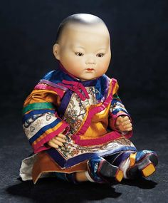 """Armand Marseille (1856-1925) —  12"""" Bisque Asian Baby 353 in Antique Silk Chinese Costume,   c.1925  (909x1100)"""