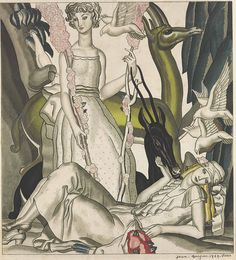JEAN DUPAS (1882-1964) -  'TWO FEMALES WITH EXOTIC FAUNA', 1929