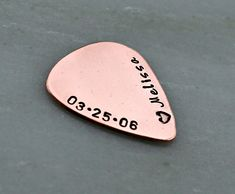 Hand Stamped Guitar Pick - Copper Guitar Pick - Personalized Guitar Pick - Engraved Guitar Pick