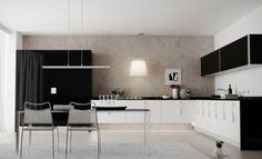 combinación entre blanco y negro para la cocina