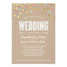 WEDDING cute gold foil confetti mint coral kraft 5x7 Paper Invitation Card