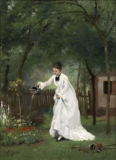 Madame Gilbert in the Garden by Victor Gabriel Gilbert (French painter, 1847-1935)