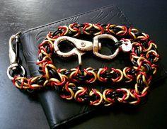 Wallet Chain Black Red Gold Biker Chain Custom by JSWALLETCHAINS