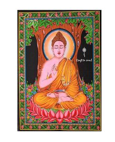 Buddha Tapestry Wall Hanging: A large vibrant piece that can be the centrepiece of any room, radiates positivity and peace for any soul. Cotton Canvas, Cotton Fabric, Meditation Altar, Altar Cloth, Tapestry Wall Hanging, Calming, Art Work, Buddha, Centerpieces