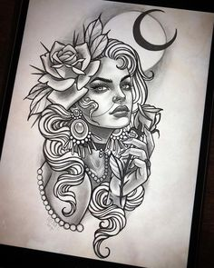 For today 🔥 - - diy tattoo images - tattoo images drawings - tattoo images women - tatto Tattoo Design Drawings, Art Drawings Sketches, Tattoo Sketches, Tattoo Designs, Gypsy Tattoo Sleeve, Sleeve Tattoos, Gypsy Tattoos, Girl Face Tattoo, Tattoo Girls