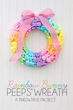 """Make this super """"sweet"""" Rainbow Bunny Peeps® Wreath to welcome Spring! Includes helpful hints and tons of ways to customize!"""