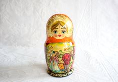 Orphan Russian Nesting Doll / Trinket Box, Hand Painted Wood