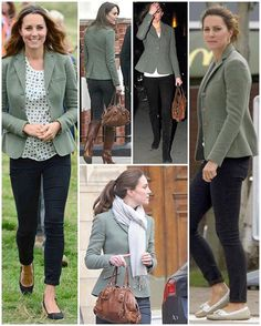 Duchess Catherine in her Custom Estate Riding jacket in Patterned Blue by Ralph Lauren. I am full on, completely and totally obsessed with this blazer. The fitted, feminine waist, the beautiful color, the versatility, the simplicity--it is the stuff of dreams.