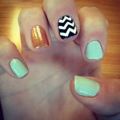Mint and Gold Nail Design