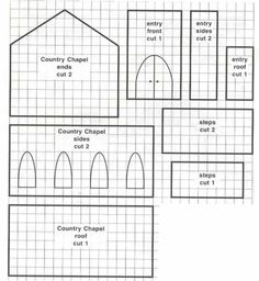 Country Chapel Gingerbread House Blueprint