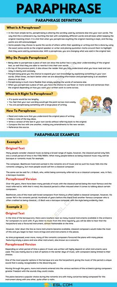 Paraphrase: Definition and Useful Examples of Paraphrasing in English