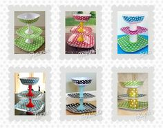 (link) DIY TUTORIAL ~ Cupcake Stand (or use for a Fruit Bowl, or Appetizers Server Stand) ~ She writes: My room mates and I went to the store to pick up some midnight snacks.  We saw these adorable plates in the summer aisle and decided that we all needed to make a cup cake stand.  We all got different combinations of the plates.  I love how all of us did things differently.  They are so easy and so much fun to make!! ~ for more great PINs w/good links visit @djohnisee ~ have fun!