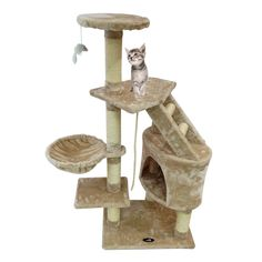 Todeco - Cat Tree, Cat Climber - Material: MDF - Cover material : Velvet, inch, Beige/Grey/Blue >>> To view further for this item, visit the image link. (This is an affiliate link) Cat Play Tower, Cat Tree Plans, Cat Climber, Diy Cat Tree, Cat Activity, Cat Towers, Cat Scratching Post, Beige, Animal House