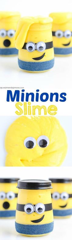 Kids will love playing with this Minion slime! This easy recipe makes a great boredom buster and Minion party favor. Kids will love playing with this Minion slime! This easy recipe makes a great boredom buster and Minion party favor. Fun Crafts, Crafts For Kids, Activities For Kids, Kids Diy, Amazing Crafts, Minion Party Favors, Minion Craft, Rosalie, Slime For Kids