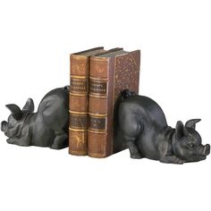 Cyan Design Piggy Bookends (Set Of 2) (400 ILS) ❤ liked on Polyvore featuring home, home decor, small item storage, cyan design, cast iron bookends, old world home decor, cast iron home decor and pig bookends