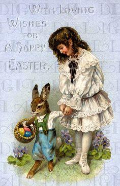 Art Nouveau White Dress Girl With Her Bunny. Vintage EASTER Card. VINTAGE Illustration. DIGITAL Download. Vintage Easter Print.