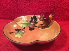 Antique Noritake Figural Squirrel & Acorn Nut Lusterware Serving Bowl, p270 #FiguralSquirrelnutbowl #Noritake