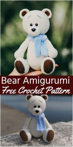 Crochet Teddy Bear Pattern Free, Teddy Bear Patterns Free, Crochet Animal Patterns, Stuffed Animal Patterns, Crochet Patterns Amigurumi, Free Pattern, Amigurumi Doll, Crochet Teddy Bears, Crochet Gratis
