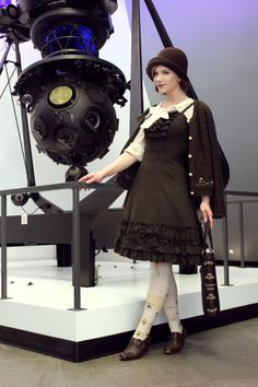 """fannyrosie: """" Back in November, I went to visit the Planetarium with my parents (pictures by my mother) Wool dress: Emanuelle OP by Mary Magdalene Blouse: Offbrand (bought in Harajuku) Tights: Verum by Grimoire Cardigan: Axes Femme Hat: Handmade Bag:..."""