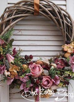 rózowy wianek Fall Wreaths, Easter Wreaths, Christmas Wreaths, Willow Wreath, Grapevine Wreath, Pink Wreath, Floral Wreath, Summer Wreath, Dried Flowers