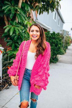 4c337b1ec6f Hot pink cardigan   fall fashion Pink Cardigan