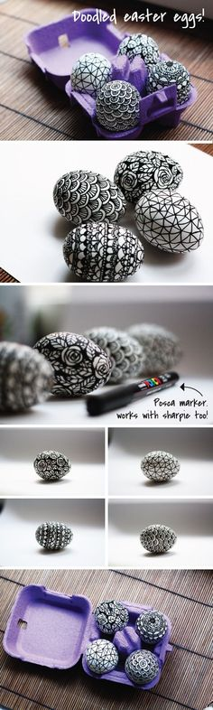 It's Easter! Get some Easter egg designs & ideas to make and hide around the homestead Easter morning. You'll love these beautiful egg ideas. Egg Crafts, Easter Crafts, Easter Decor, Easter Ideas, Spring Crafts, Holiday Crafts, Black And White Doodle, Black White, Easter Egg Designs
