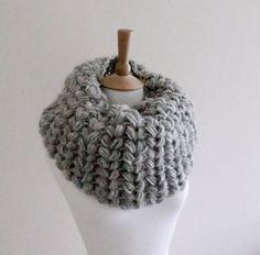 PDF CROCHET PATTERN   Cowl Frost Bite - large grey crocheted cowl pattern for gray infinity neck warmer puffy ears