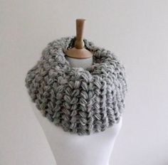PDF CROCHET PATTERN   Cowl Frost Bite - large grey crocheted cowl pattern for gray infinity neck warmer puffy ears