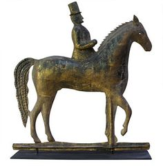 Gentleman Rider on Horseback weathervane. Close examination reveals that the rider has no legs and that light could shine through the punched eye of the horse. It is attributed to William F. Tuckerman, circa 1850.