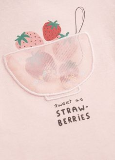 Cotton fabric Printed design Sequin panel Rounded neck Short sleeve Press stud fastening on the back Kids Prints, Baby Prints, Junior Girls Clothing, Fabric Print Design, Fruit Pattern, Patch Design, Slogan Tee, Baby Design, Toddler Outfits