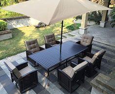 Luxxella Patio Outdoor Wicker Furniture Sunbrella Genuine Collection Bistro 3-piece Couch Sectional Sofa Set (Canvas Aruba 5416)