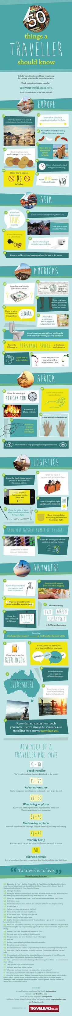 50 Things a Traveller Should Know [by Travelbag -- via #tipsographic]. More at tipsographic.com
