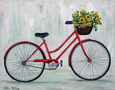 Red Bicycle Painting, bicycle with sunflowers in basket, bicycle art, 11 x 14 gallery wrapped canvas, wall art, home decor, small painting