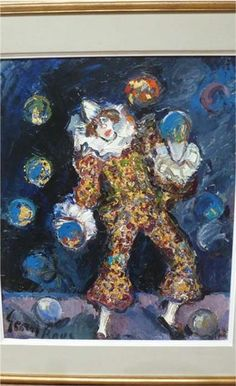 Germaine Brus - Juggling clown - 68 x 79 cm including frame Fauvism, Impressionism, Still Life, Canvas, Frame, Flowers, Painting, Color, Art