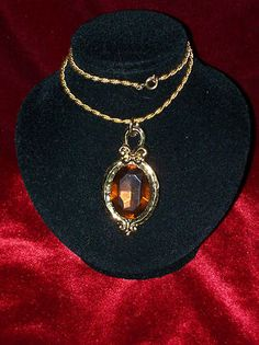 Gemstone Enamal Vintage Victorian Style Costume Necklace Yellow Topaz