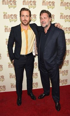 2016 May 12: Here comes trouble! Ryan Gosling and Russell Crowe looked like they were up to no good as they attended a screening of their latest film The Nice Guys in New York City.  Photo: Getty Images
