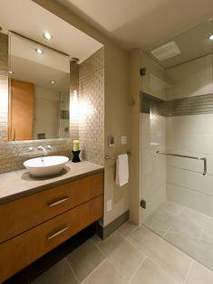 Medicine Cabinet Storage - 18 Savvy Bathroom Vanity Storage Ideas on HGTV. Love the texture of the walls above the vanity. Bathroom Vanity Storage, Rustic Bathroom Vanities, Bathroom Cabinets, Bathroom Ideas, Houzz Bathroom, Bathrooms, Vanity Sink, Bathroom Shelves, Bathroom Designs