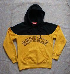 "Vintage Supreme  ""Logo Contrast"" Hoodies (Yellow/Black)"