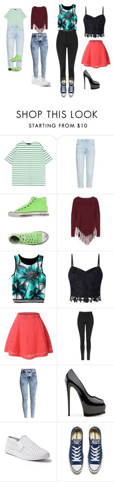 """4 outfits"" by queenalisa on Polyvore featuring M.i.h Jeans, 2Star, Boris, Lipsy, LE3NO, Topshop, H&M, Steve Madden and Converse"