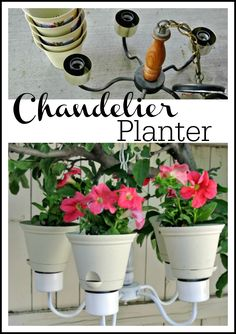 DIY Chandelier Planter is absolutley adorable for summer! by www.polkadotpoplar.com on www.whatscookingwithruthie.com #planter #DIY
