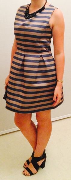° stripped blue and brown dress, high black sandals, pochette and necklace in black, as always °