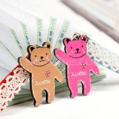 Wooden bear couple phone pendant