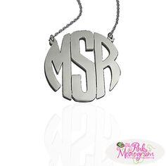 Silver Monogrammed Block Necklace