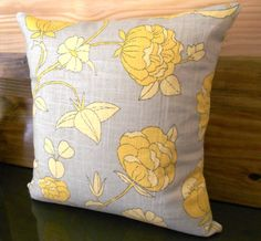 Yellow and natural  floral decorative pillow by pillowflightpdx, $38.00