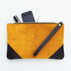 Large Yellow Suede and Black Leather Wristlet by JillyDesigns